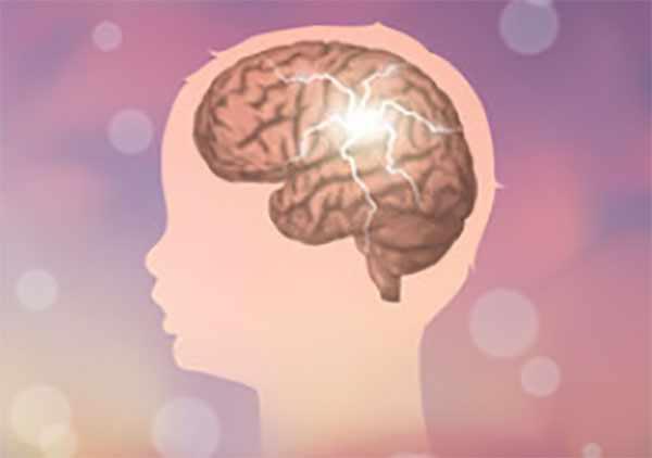 Рисунок головы ребенка, виден мозг и электрические разряды в нем