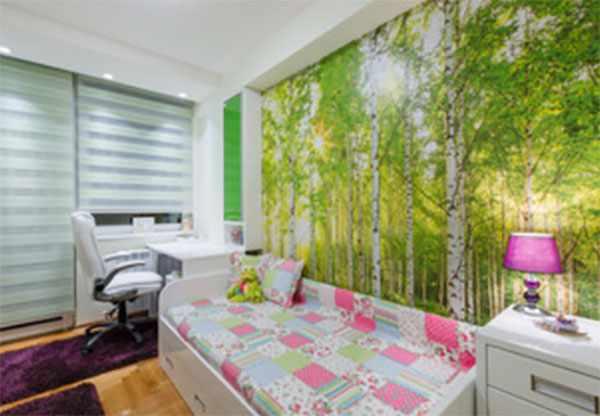 Комната девочки, на стене фотообои - березовая роща