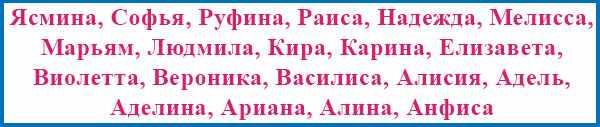 Имена девочек, подходящие для сентября