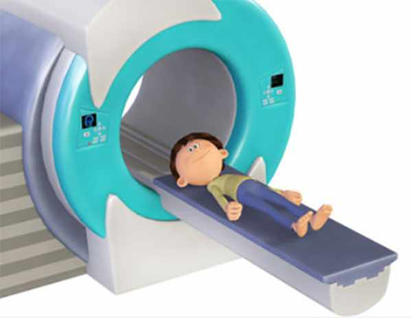 3D иллюстрация аппарата МРТ и ребенка