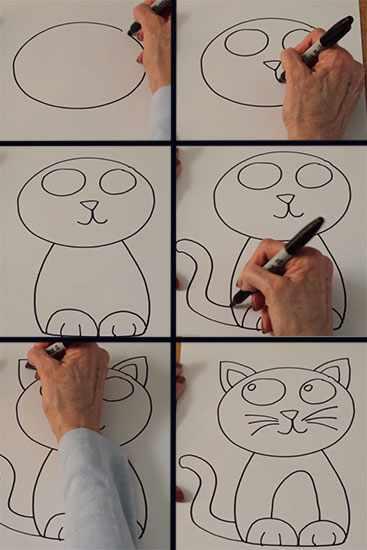 Поэтапный рисунок кота