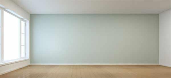 Пустая комната с большим окном и стеной пастельного цвета