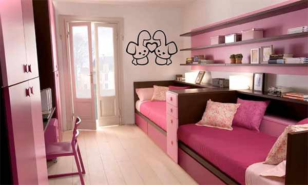 Комната в розовом цвете для двух девочек