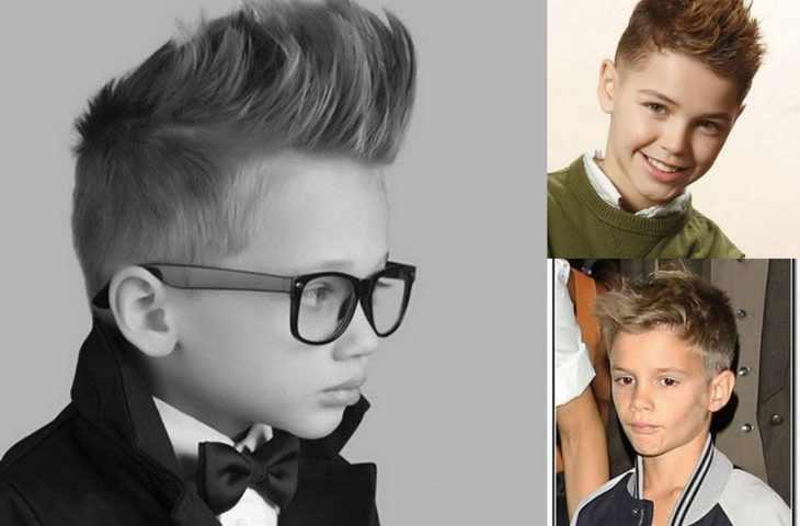Волосы уложены у мальчиков вверх
