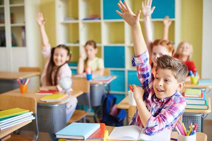 Дети тянут руку чтобы ответить