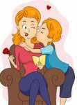 Ребенок обнимает и целует свою маму