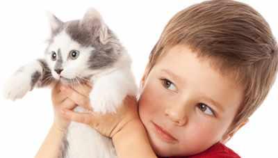Мальчик держит кошку