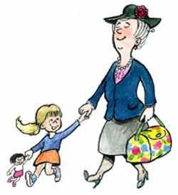 Няня гуляет с ребенком