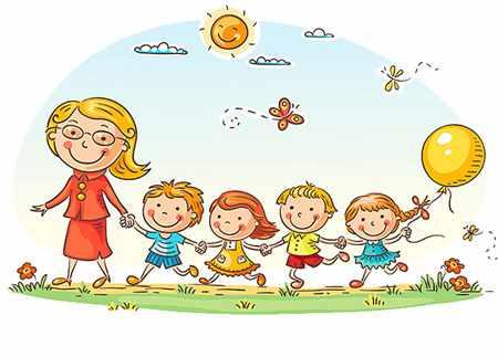 Дети бегут дружно за воспитателем