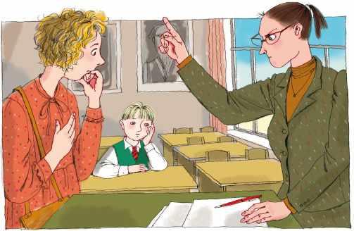 Учитель ругает школьника перед родителем