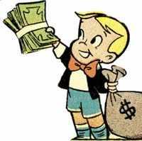 Мешок с деньгами у ребенка
