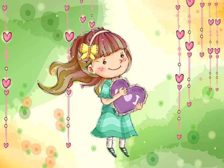 Девочка держит сердце мульт