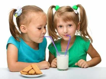 Девочки пьют молочный коктейль